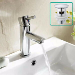 Basin Sink Mixer Tap Mono Bathroom Cloakroom Chrome Brass Faucet With Free Waste