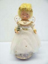 Vintage Used Angel Wind Up Music Box Christmas Figurine Display Old White