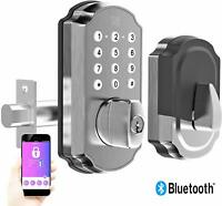 TURBOLOCK TL115 Smart Lock w/ Keypad & Voice Prompts App Digital Deadbolt Silver