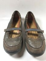 Clarks Unstructured 85116 Brown Leather Mary Jane Flat Shoes Slip On Womens 8.5