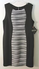 Womens R&M Richards S/L Black and White Polyester/Spandex Dress, Size 14W, NWT