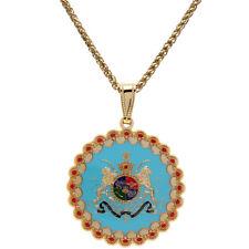 Persian Pahlavi Darbar Flag Medallion Lion Sun Crown Farvahar Necklace Chain Art