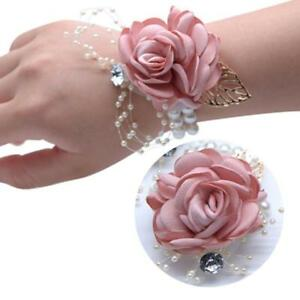 Bridesmaid Hand Flower Wedding Party Girl Child Dance Wrist Corsage Bracelet