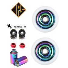 PRO STUNT SCOOTER PACK 2 110mm NEO CHROME METAL CORE WHEELS ABEC 11 BEARING PEGS