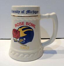 Vintage 1983 NCAA Rose Bowl University of Michigan Ceramic Stein!