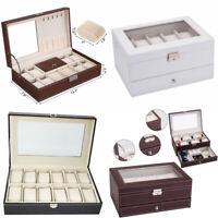 USA 6/10/12/20/24 Slot Watch Box Leather Display Case Organizer Jewelry Storage
