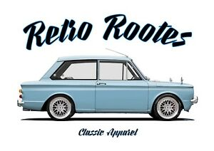 HILLMAN IMP t-shirt. RETRO ROOTES, ROOTES GROUP. MODIFIED. CHRYSLER.