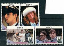 Nevis 1986 Matrimonio Reale Set di tutti i 4 FRANCOBOLLI COMMEMORATIVI Gomma integra, non linguellato