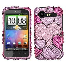 Cloudy Hearts Bling Case Cover HTC Droid Incredible 2