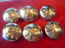 """Set 6 Sterling Silver 1"""" with Brass Star Center Conchos"""