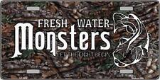 "Fresh Water Monsters Fishing Humor Novelty 6"" x 12"" Metal License Plate Sign"