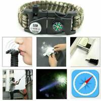 Outdoor Survival Paracord Bracelet LED Flint Fire Starter Compass Whistle Knife