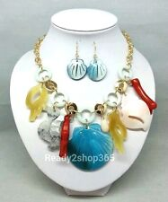 Sea Life Seashell Seahorse Ocean Coral Necklace Beach Nautical Gold Earrings Set