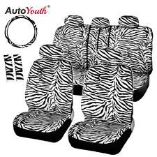 White Short Plush White Zebra Seat Covers Set Universal Interior Accessories