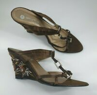 Romp size 6 (39) brown faux leather satin strappy beaded wedge heel sandals