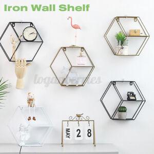 Geometric Metal Iron Storage Wall Shelf Rack Display Organization Home Decor