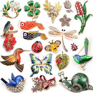 FLOWER INSECT BROOCH LAPEL PIN Enamel Rhinestone Costume Jewellery Birthday Gift