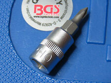 "BGS TOOLS  PH0 PHILLIPS SCREWDRIVER BIT  IN  SOCKET 1/4"" DRIVE CHROME VANADIUM"