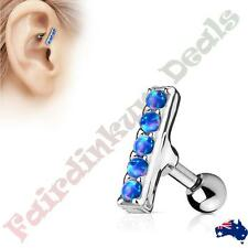 316L Surgical Steel Tragus/Cartilage Stud with 5 Blue Opal Set 2 mm x 10 mm Bar