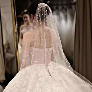 Luxury Cathedral Veil NEW 1 Tier Pearls Wedding Bridal Veil With comb Long 2M 3M