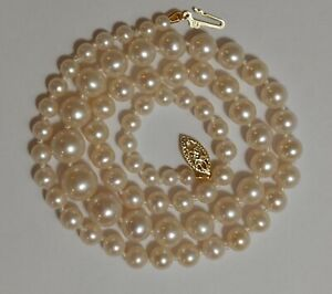 GENUINE AKOYA PEARL NECKLACE GRADUATED SOLID 14K GOLD AAA WHITE NATURAL COLOR