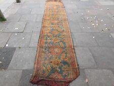 Antique Shabby Hand Made turc Ushak Oushak bleu laine Lang Runner 430x93cm