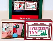 1991 NEW HALLMARK Ornament EVERGREEN INN Matchbox QX5389 MINI Mint in Box MIB