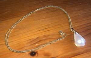 Gold & solitaire stone Pearl pendant necklace