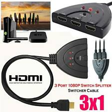 3x1 In Out 3 Port 1080P HD TV 3D Compact Auto HDMI Switch Hub Splitter Adapter