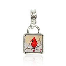 Cardinal in Winter Euro European Italian Style Bracelet Bead Sqr Charm