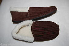 Mens Slippers DARK BROWN CORDUROY Sherpa Lined HOUSE SHOES Rubber Soles L 10-11