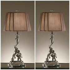 "TWO RICH STATELY 31"" AGED BRONZE FINISH TABLE LAMP ELEPHANT WITH TUSK LIGHTING"