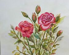 "Painter Suzanne Obrand, Holocaust Survivor, Watercolor Painting ""Red Roses"""