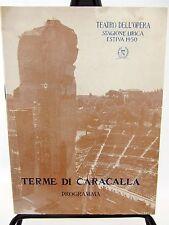 Terme Di Caracalla PROGRAM Opera 1950 - AIDA Giuseppe Verdi - ITALIAN TEXT
