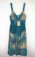 NWT New ANTHROPOLOGIE by Lil Blue 100% Silk Cocktail Casual Dress XS Size 0