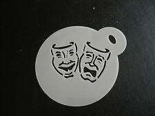 Laser cut small theatre mask design cake, cookie,craft & face painting stencil