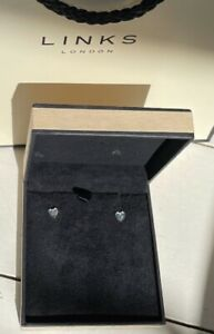 Genuine Links of London Small Silver Heart Stud Earrings. New in box with bag