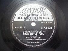 "RICKY NELSON RICK HLP 8670 INDIA INDIAN RARE 78 RPM RECORD 10""  VG+"
