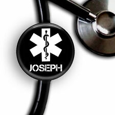 STAR OF LIFE MEDICAL SYMBOL PERSONALIZED STETHOSCOPE ID TAG