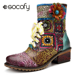 SOCOFY Women's Leather Handmade Cowgirl Floral Splicing Boots Square Heel Shoes