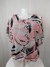 Alfani Plus Size Flutter Sleeve Geometric Print Blouson Top 2X Pink-Black #5111