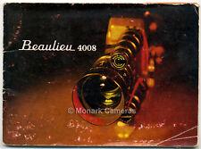 Beaulieu 4008 user guide d'instruction book. plus 8mm caméra manuels mis en vente
