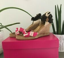 J.Crew Striped Espadrille Wedge Sandals Ankle Wrap Brown/Pink/White Size 7