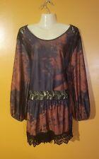 NWT Women's Plus Size 4XL Multicolor Tunic Shirt Top Layer Lace Panels Feminine