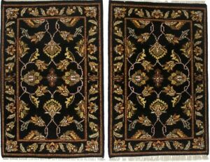 Pair of Floral Design Oriental Rugs 2X3 Hand-Knotted Kitchen Entryway Carpet