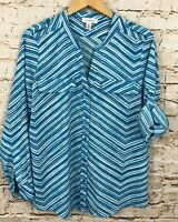 Calvin Klein button up vneck blouse shirt womens large teal roll tab sleeve J8