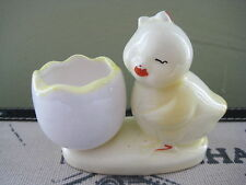 Lustiger Eierbecher mit Küken Keramik weiß gelb