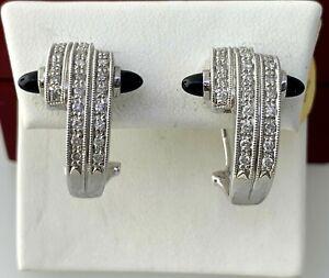 Diamond Huggie Hoop Earrings with Black Onyx in 14K Solid White Gold 0.50 Dtw
