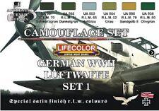 LIFECOLOR PAINT German WWII Luftwaffe Camouflage Acrylic Set #1 6 22ml Bottles