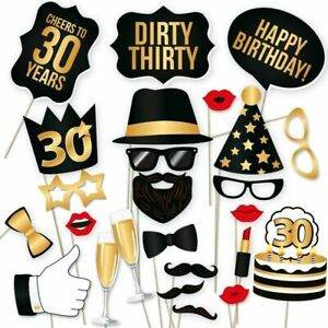30 Pack of 30th Birthday Props Kit Photo Booth Prop Mens Womens Party Decoration